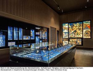 Blick in die Dauerausstellung des Münzkabinetts, Auftaktraum: Bergbau und Münzprägung in Sachsen, Münzkabinett